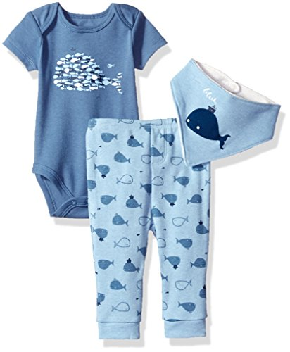 absorba Baby Boys 2 Pieces Bodysuit Pant Set with Bib