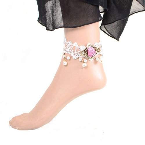 Idin Fashion Anklet - Gothic style white lace adjustable anklet with pink rose and pearl beads (approx. 24 cm)