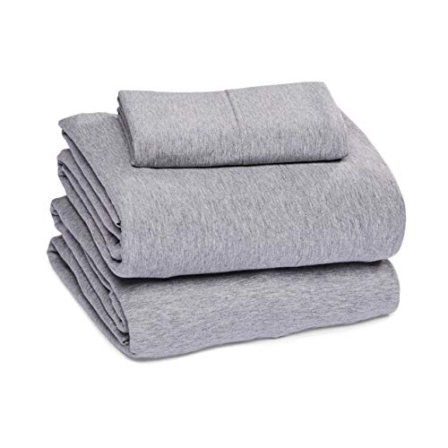 Amazon Basics Cotton Jersey Bed Sheet Set – Twin, Light Gray