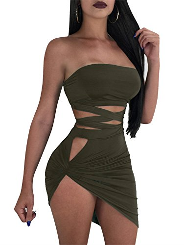 GOBLES Women's Sexy Two Piece Outfits Bodycon Criss Cross Bandage Mini Club Dress Army Green