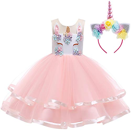 Kids Girls Unicorn Rainbow Tutu Dress with Headband Halloween Cosplay Costumes Party Outfit Fancy Dress up Clothes Pink with Headband 6-7 Years