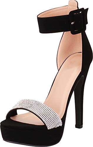 Cambridge Select Women's Open Toe Ankle Strap Crystal Rhinestone Chunky Platform High Heel Dress Sandal,6.5 B(M) US,Black NBPU ()