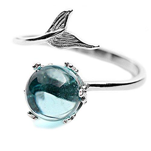 Helen de Lete Mermaid In Deep Ocean 925 Sterling Silver Open Ring -