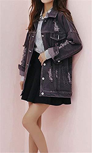 Giacche Single Anteriori Outwear Autunno Manica Cavo Lunga Casual Tasche Grazioso Donna Jeans Bavero Breasted Di Stlie Elegante Accogliente Grau Cappotto Moda BgX0n