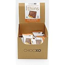 "ChocXO Dark Chocolate Thins with Salted Caramel ""100% Organic"" 48 Bars per Box"