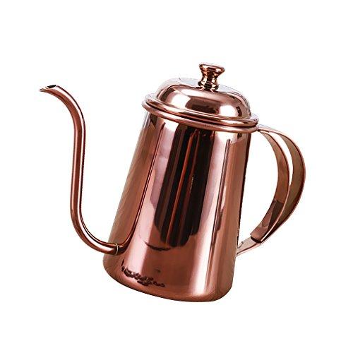 MagiDeal Kitchen Gooseneck Kettle 650ml Pour Over Coffee Tea Drip Pot Stainless Steel 5 Colors - Rose Gold, 16.5 x 9.5 cm - Pot Goose