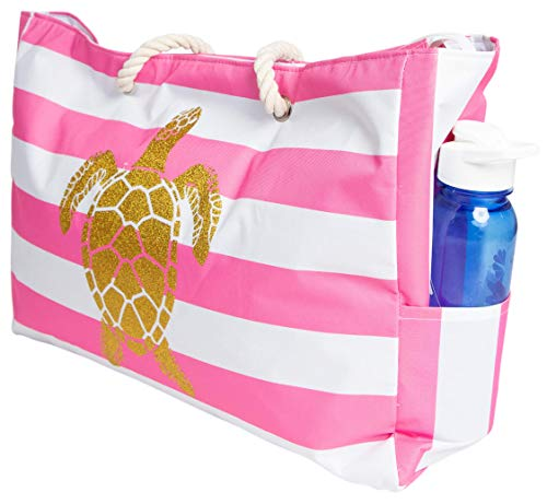 Beach Bag XL, Waterproof Lining, Travel Tote Bag, Zipper Closure, Inner Pockets -