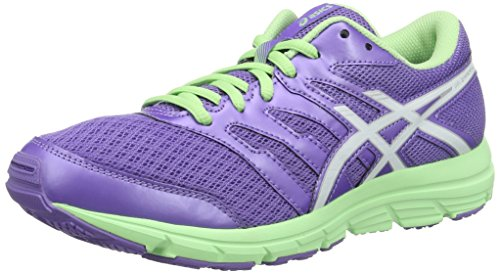 Asics Kinder-Unisex Gel-Zaraca 4 GS Laufschuhe für Das Training auf der Straße, Violett Multicolore (Iris White/Patine Green)