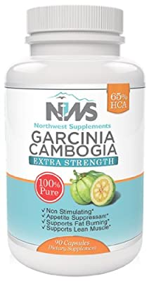 Northwest Supplements Extra Strength Garcinia Cambogia Natural Appetite Suppressant and Weight Loss Supplement with 65% HCA, 90 Count, 650mg