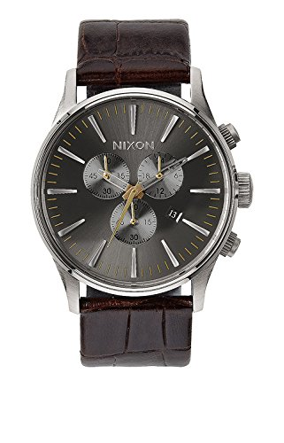 Nixon Men's A4051887 Sentry Stainless Steel Watch with Brown Leather Band -