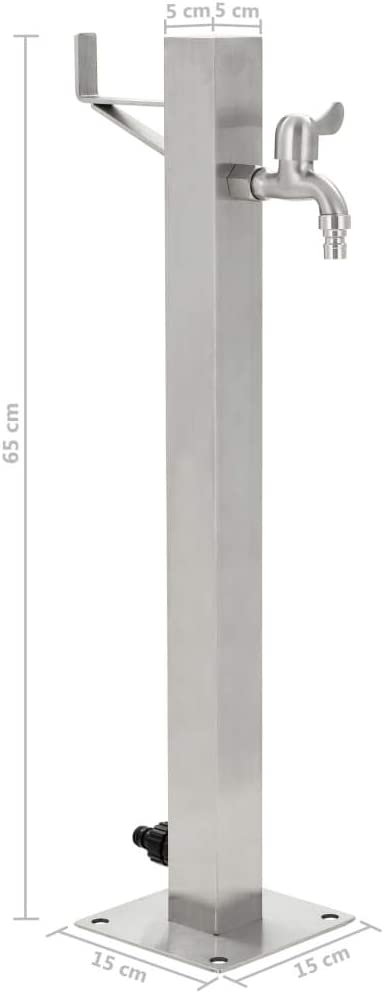 Tidyard Fontanella a Colonna in Acciaio Inossidabile Quadrata,Fontana in Acciaio Inox,Colonna d/'Acqua per irrigazione Giardino in Acciaio per Esterno casa Giardino 65 cm