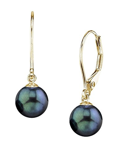 THE PEARL SOURCE 14K Gold 7.5-8mm AAA Quality Round Genuine Black Akoya Cultured Pearl Leverback Earrings for ()