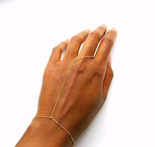 Adjustable Simple Hand Chain for women, Size 7-9 inch, 14k gold plated