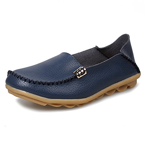 SCIEN Women's Leather Loafers Casual Walking Slippers Driving Moccasins Slip-On Flat Shoes A Navy