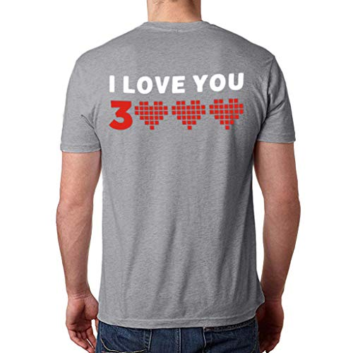 I Love You 3000 T-Shirt Women Man Couple Letter Print Lover Short Sleeve Loose Simple Casual Tops O-Neck Blouse Gray M