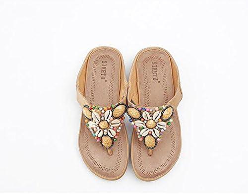 f83b31bb041 ZHIRONG Zapatillas de deporte de verano Bohemia suave abajo Moda Piedras de  diamante de imitación con cuentas Pinch playa Sandalias ( Color   Beige
