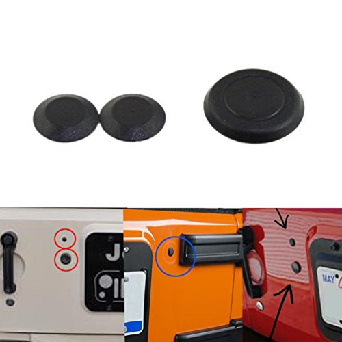 Jeep Tailgate Black Durable Rubber Plugs Tramp Stamp Tire Carrier Removable Rubber for 2007 and Up Jeep Wrangler,Pack of 3