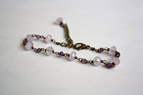 JP_Beads Amethyst Beaded Chain Bracelet, Antique Bronze, Handmade Wire Wrapped Chain 3-8mm
