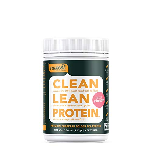 Nuzest Clean Lean Protein – Premium Vegan Protein Powder, Plant Protein Powder, European Golden Pea Protein, Dairy Free, Gluten Free, GMO Free, Naturally Sweetened, Wild Strawberry, 9 Servings, 7.9 oz