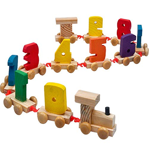 My First Number Wooden Stacking Train Set Learning and Counting Train Set Educational Toy for 2-5 Year Olds