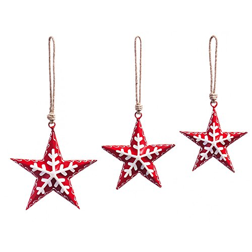 Nordic Santa Ornament (Cypress Home Red Metal Nordic Star Ornaments, Set of 3)