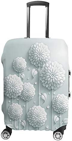 スーツケースカバー トラベルケース 荷物カバー 弾性素材 傷を防ぐ ほこりや汚れを防ぐ 個性 出張 男性と女性3 Dの装飾的な白い丸い花