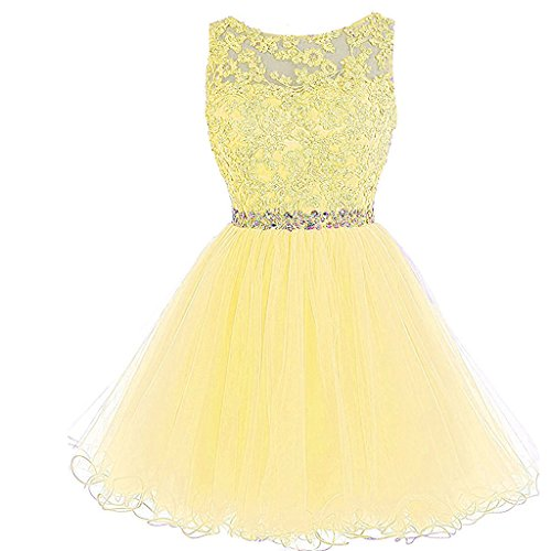 Lace Prom Corset Homecoming Dresses Short Tulle Sheer Bateau Beaded Yellow Aiyi tWgwqf1Rn