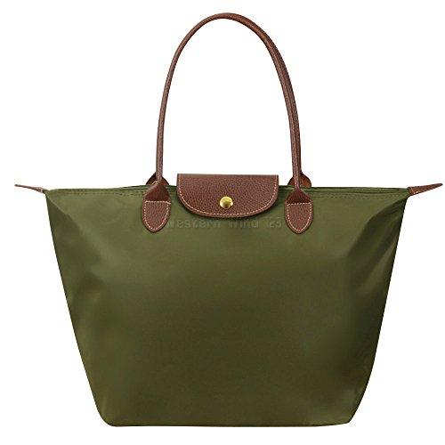 Tote Travel Messenger Bag Shoulder Beach Folding Bag Handbags Wocharm Ladies Nylon Bag Purse Casual Womens Green Army Bag Shopping Tote txIwnEO76q