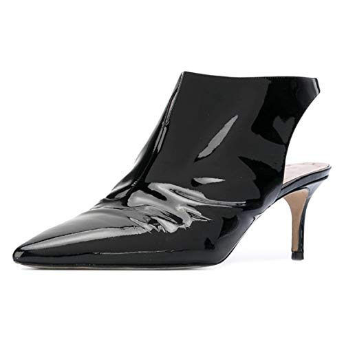 Heel Sandals Black on Pumps Dress Women Shoes Stiletto Slingback Pointed Toe Slip Mid YDN fwgqFUSx