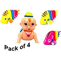 Plastic Key Operated Wind-Up Stalking Mini Fish Toy in Candy Colours with Crawling Baby Toy for Children, Kids and Toddlers (Pack of 4)