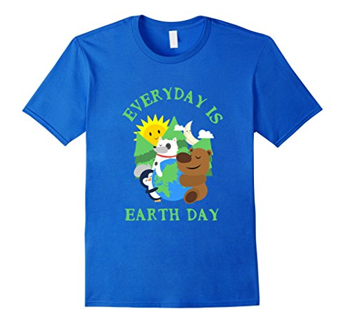 Men's CUTE EVERYDAY IS EARTH DAY T-SHIRT Love Animal Earth Gift Medium Royal Blue (Cute Brother And Sister Costumes Halloween)