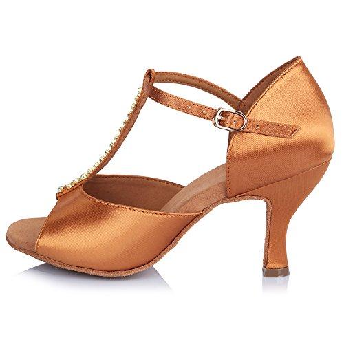 Roymall Womens Satin Latin Dance Shoes With Rhinestone Ballroom Salsa Tango Performance Shoes,Model AF445 Brown
