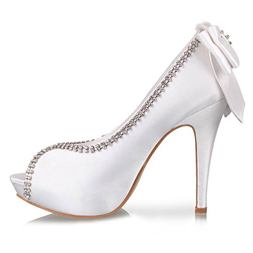 Sparkle Satin Sandals (Minishion GYTH13138 Womens Stiletto High Heel Platform White Satin Sparkle Evening Party Bridal Wedding Rhinestone Bowknot Sandals Shoes US 8)