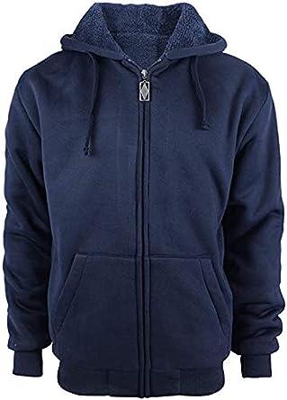 Little Beauty Mens Winter Heavyweight Fleece Sherpa Lined Zipper Hoodie Sweatshirt Jacket