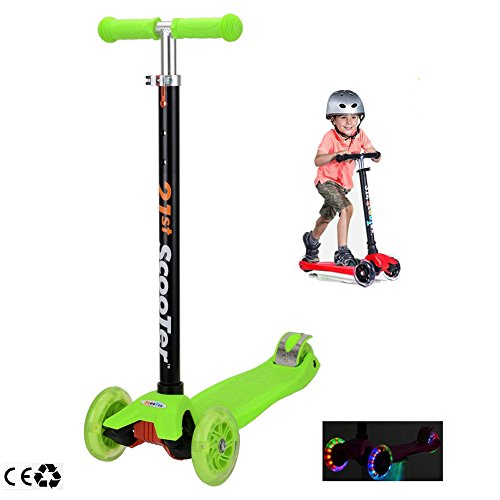 Scooters for Kids,Kingo 3 Wheel Adjustable Height Scooter with Led Light Up Wheels for Over 3 Years Old Boy and Girl (Green)