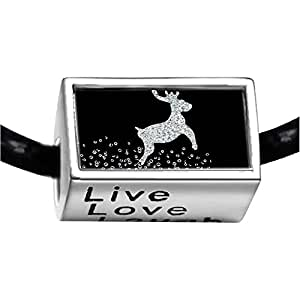 Chicforest Silver Plated Happy Christmas Reindeer Photo Live Love Laugh Charm Beads Fits Pandora Bracelet