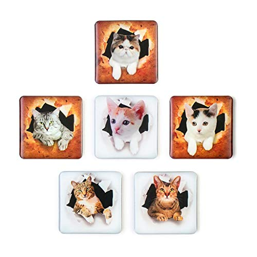 Iusun 6PCS Refrigerator Stickers 3D Cat Animals Fridge Magnets Removable Art Decorate Metal Surfaces for Dishwasher, Magnetic Whiteboard, Other Office Supplies and Kitchen Locker (A)