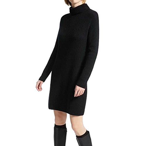 Dresses Cashmere Turtleneck Sweater (FINCATI Winter Spring Sweater Dress Women Cozy Soft Cashmere Wool Knited Oversized Casual Style (Turtleneck Black, Free Size))