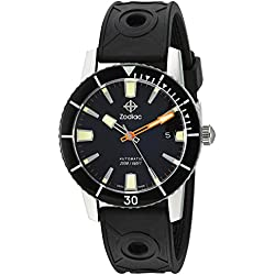 Zodiac Men's 'Super Seawolf 53 Comp' Swiss Automatic Stainless Steel and Rubber Casual Watch, Color:Black (Model: ZO9256)