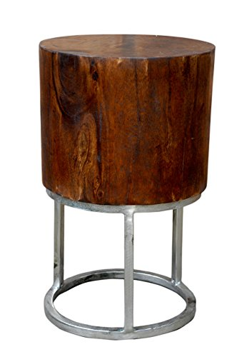 - Foreign Affairs Home Decor Deep Mango Wood Accent Table Sanders with Round Silver Base