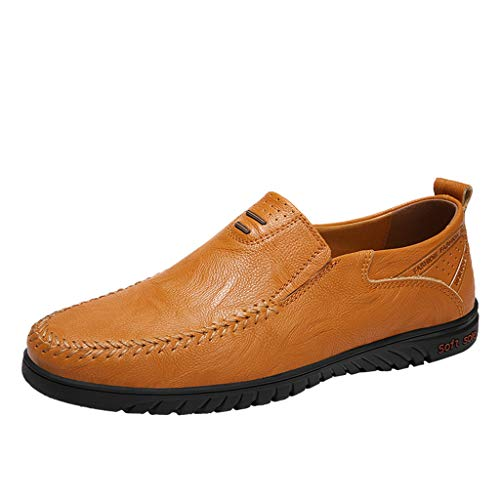 Goddessvan Mens Shoes Comfortable Footwear Chaussures Men Slip On Lazy Shoes Peas Loafers Yellow (Best Hiking Footwear Review)