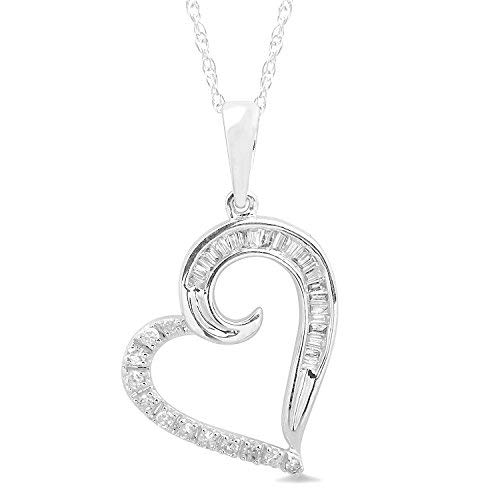 - 10k White Gold Diamond Heart Necklace Round and Baguette Diamonds 18 Inch Rope Chain