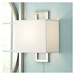 Interior Lighting Aundria Modern Wall Lamp Plug-in Rectangular Brushed Nickel White Shade for Living Room Bedroom Reading – Possini Euro… modern wall sconces