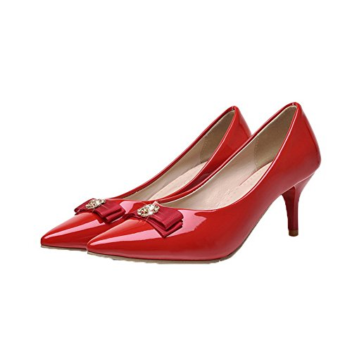 Amoonyfashion Dames Pull-on Gesloten-teen Kitten-hakken Pu Stevige Pumps-schoenen Rood