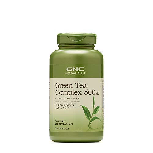 GNC Herbal Plus Green Tea Complex 500mg, 200 Vegetarian Capsules, Supports Metabolism (Green Tea Extract Gnc)