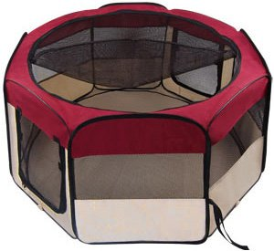 Portable Maroon Large 45'' 45 Inch In Octagon Pet Playpen Dog Puppy Cat Exercise Training Pen Maroon Play Game Pen