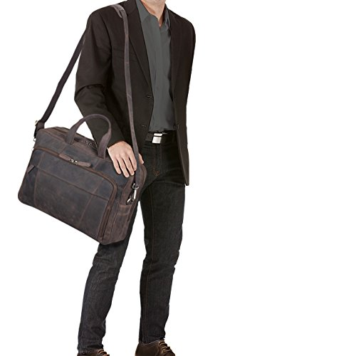 STILORD Jaron Vintage Ledertasche Leder Herren Damen 15,6 Zoll Laptoptasche Umhängetasche groß Aktentasche Arbeit Büro Uni echtes Rindsleder, Farbe:schwarz Dunkel - Braun