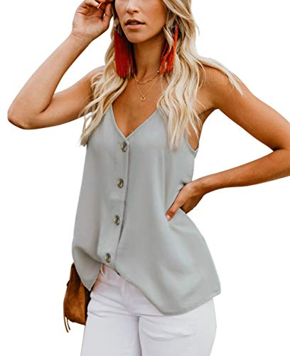 (CASILY Womens Fashion Button Down V Neck Sleeveless Strappy Shirts Tank Tops Light Grey, Medium)