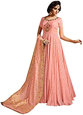 fa412a3b47075 Amazon.com: Pink Indian Party Ready to Wear Silk Anarkali Salwar Kameez L,  XL, XXL Abaya One Piece Ethnic Girls Ladies Women Dress 7813: Home  Improvement