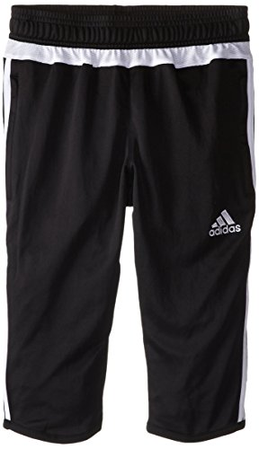 adidas Performance Tiro 15 Three-Quarter Pant, Large, Black/White/Black ()